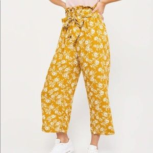 Abercrombie & Fitch Yellow Floral Paperbag Pants